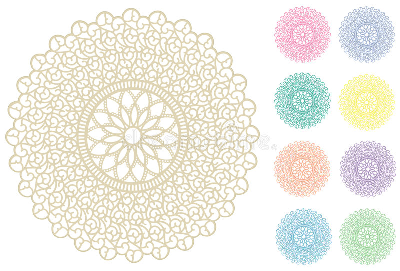 Download Filigree Lace Round Doily, 9 Pastel Colors Stock Vector - Image: 7837352