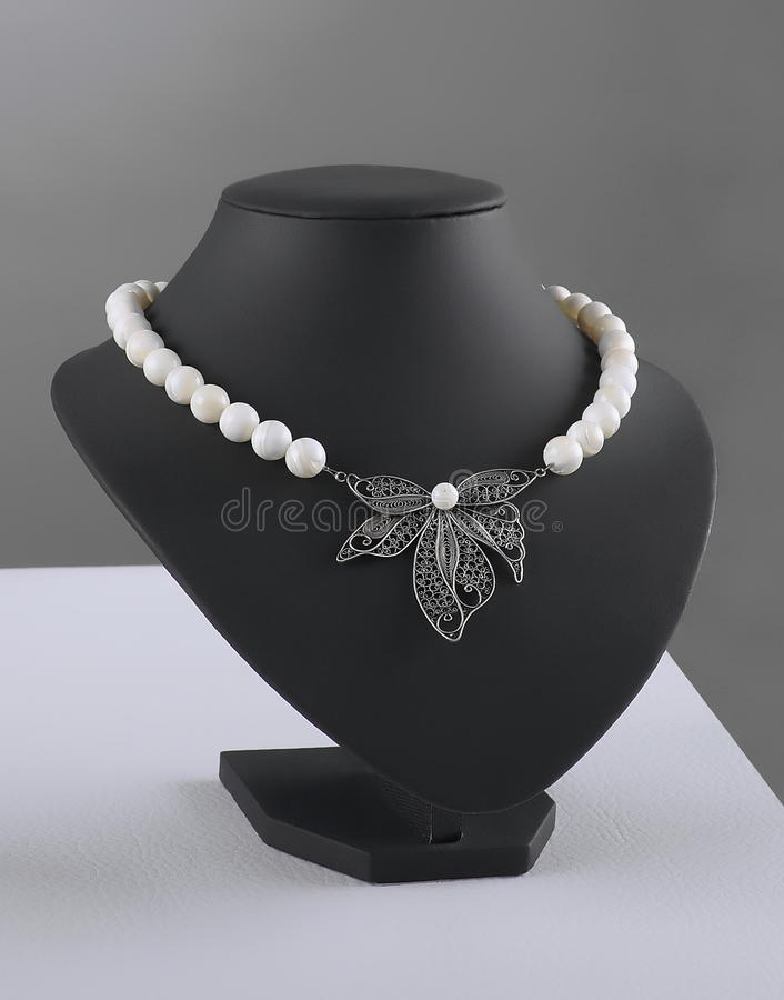 Filigree necklace. With Macedonian pearls stock photography
