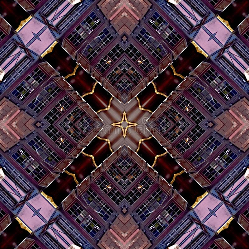 Filigree pattern of windows and brick walls. Digital art design. Abstract filigree texture, made of a building with small windows and brick walls , seen through royalty free illustration