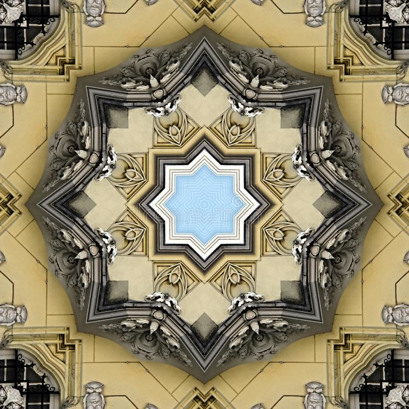 Filigree pattern of windows and walls with stucco decoration. Digital art design. Abstract filigree texture,made of a building with small windows and walls with stock illustration