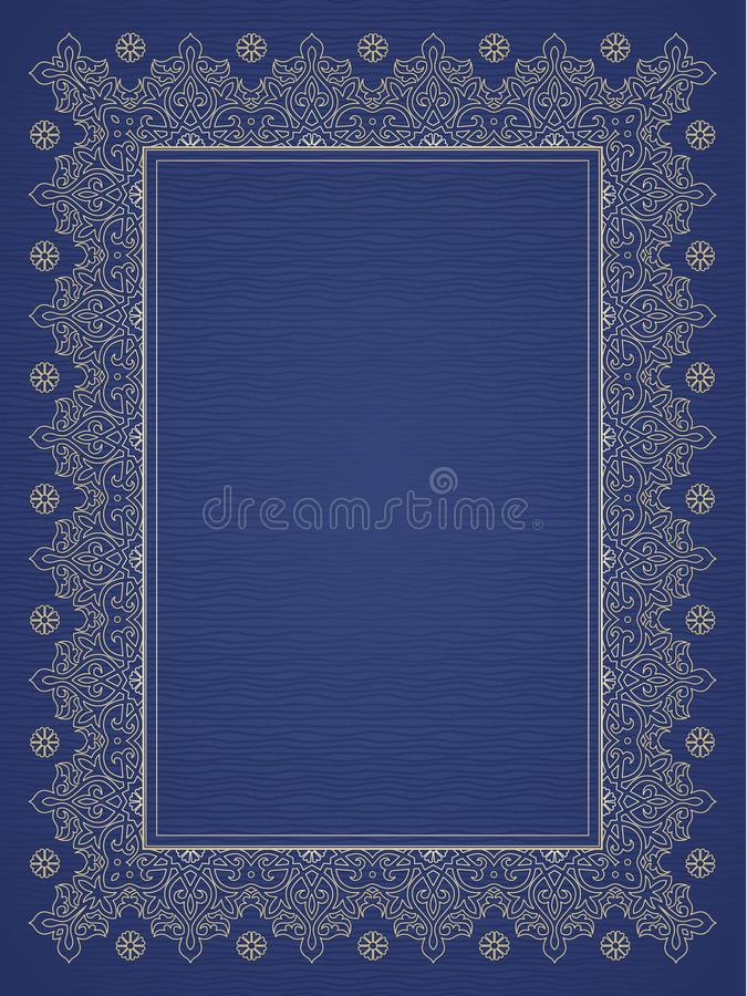 Filigree vector frame in Eastern style. Ornate element for design, place for text. Ornamental golden pattern for wedding invitations and greeting cards stock illustration