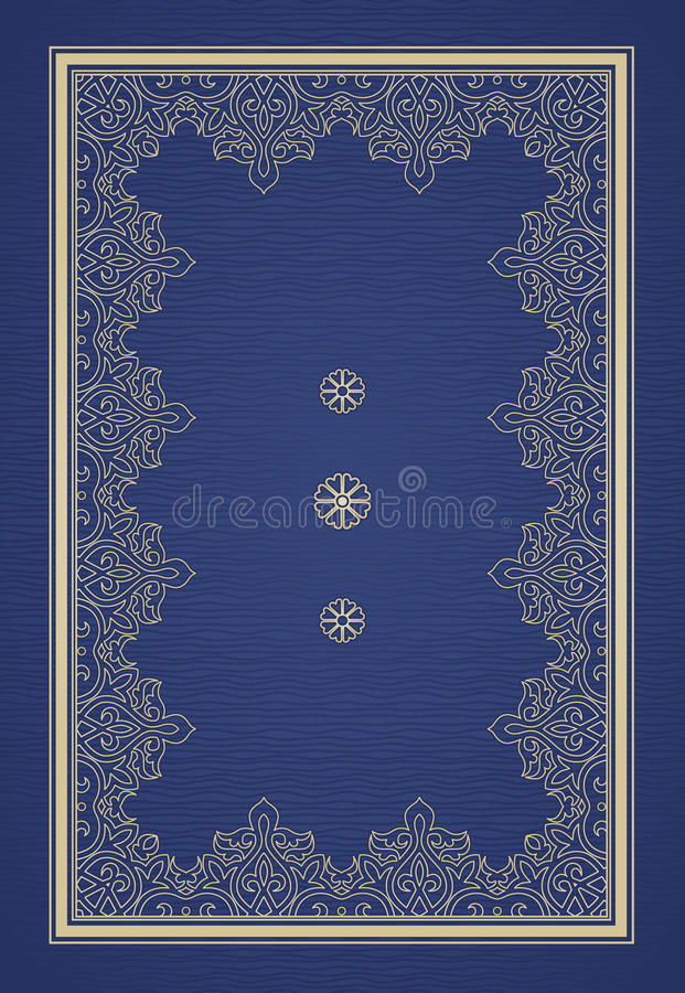 Filigree vector frame in Eastern style. Ornate element for design, place for text. Ornamental golden pattern for wedding invitations and greeting cards royalty free illustration