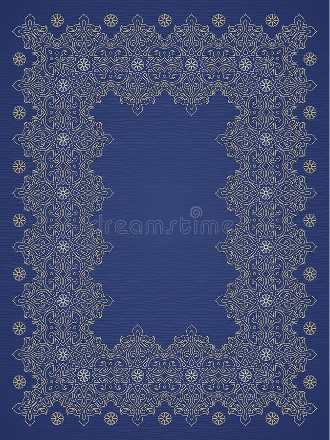 Filigree vector frame in Eastern style. Ornate element for design, place for text. Ornamental golden pattern for wedding invitations and greeting cards vector illustration