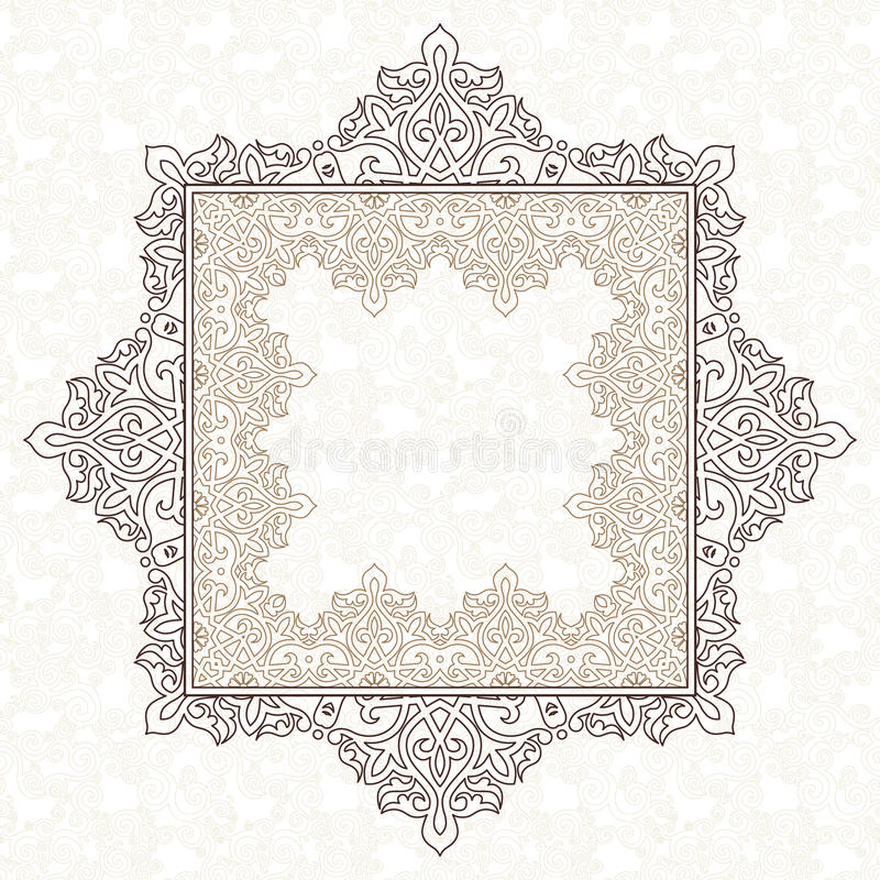 Filigree vector frame in Eastern style. Ornate element for design, place for text. Ornamental outline pattern for wedding invitations and greeting cards royalty free illustration