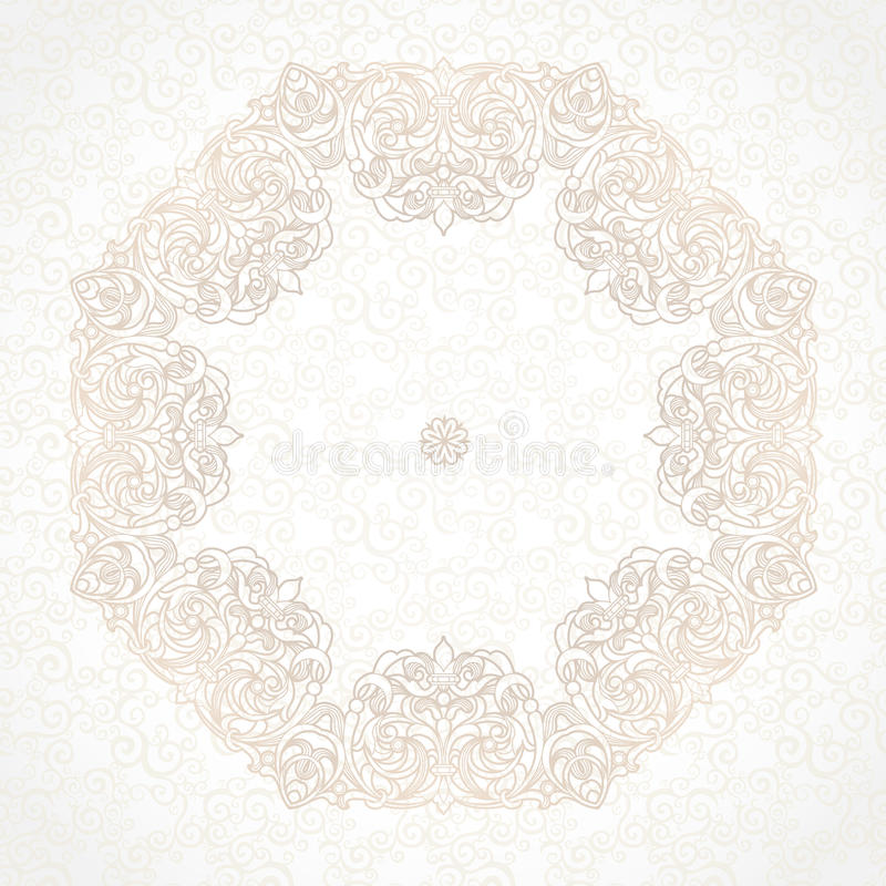 Filigree vector frame in Victorian style. Ornate element for design, place for text. Ornamental beige pattern for wedding invitations and greeting cards stock illustration