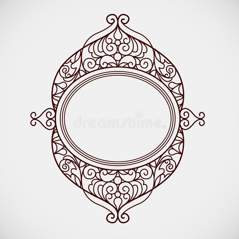 Filigree vector line art frame in Eastern style. Ornate element for design, place for text. Ornamental golden border for wedding invitations and greeting cards stock illustration