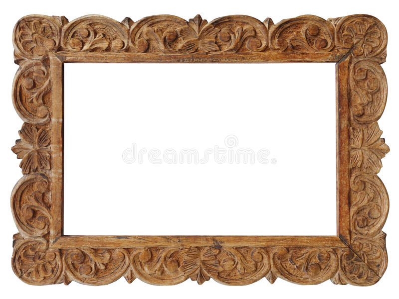 Filigree wooden picture frame. Isolated on white royalty free stock photo