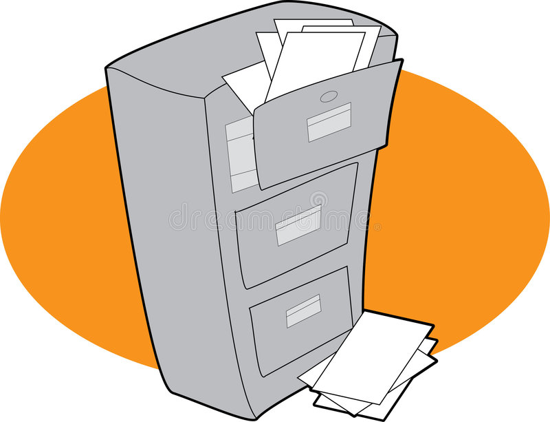 Filing Cabinet. A filing cabinet with open drawers and overflowing papers stock illustration