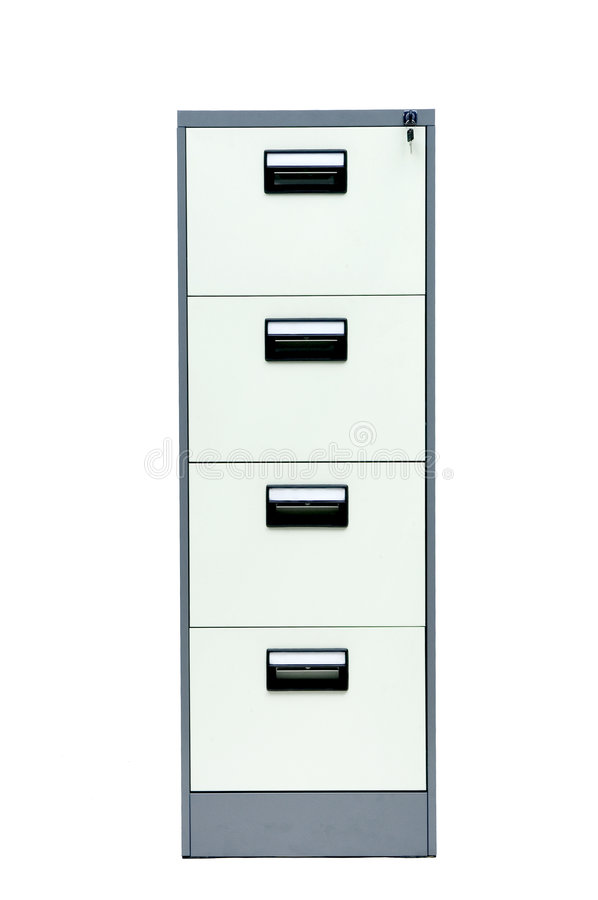 Filing cabinet. A gray filing cabinet with four drawers on a white background stock image