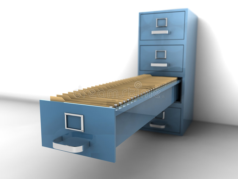 Filing Cabinet. With an really large open draw royalty free illustration