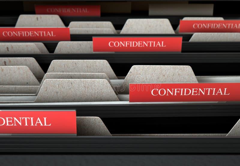 Filing Cabinet Drawer Open Confidential vector illustration