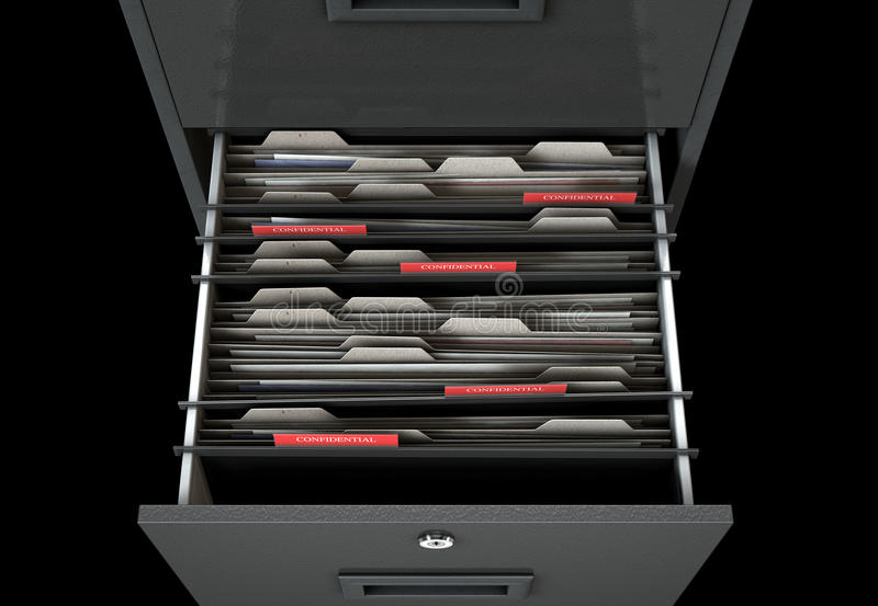 Filing Cabinet Drawer Open Confidential. A 3D render closeup view of an open filing cabinet drawer revealling confidential related documents inside vector illustration