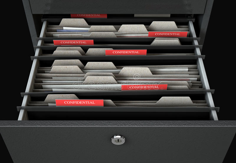 Filing Cabinet Drawer Open Confidential royalty free illustration