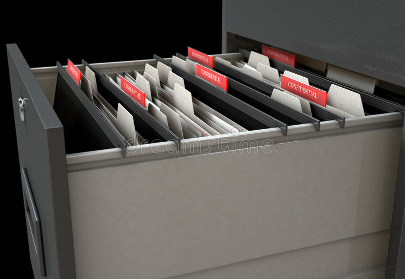 Filing Cabinet Drawer Open Confidential. A 3D render closeup view of an open filing cabinet drawer revealling confidential related documents inside stock illustration