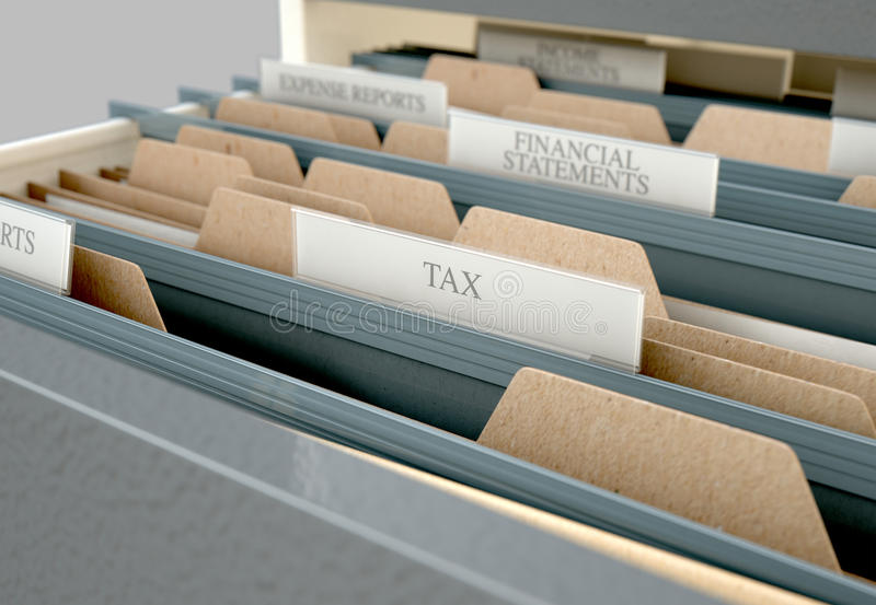Filing Cabinet Drawer Open Tax. A 3D render closeup view of an open filing cabinet drawer revealling income tax related documents inside stock illustration