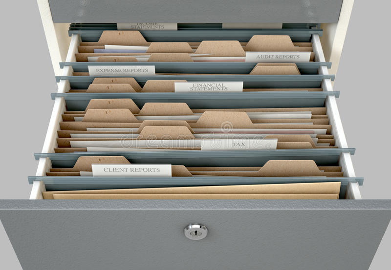 Filing Cabinet Drawer Open Tax. A 3D render closeup view of an open filing cabinet drawer revealling income tax related documents inside vector illustration
