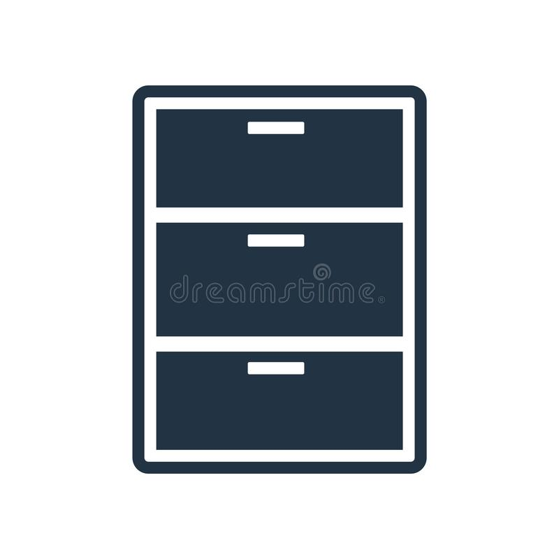 Filing cabinet icon vector isolated on white background, Filing stock illustration