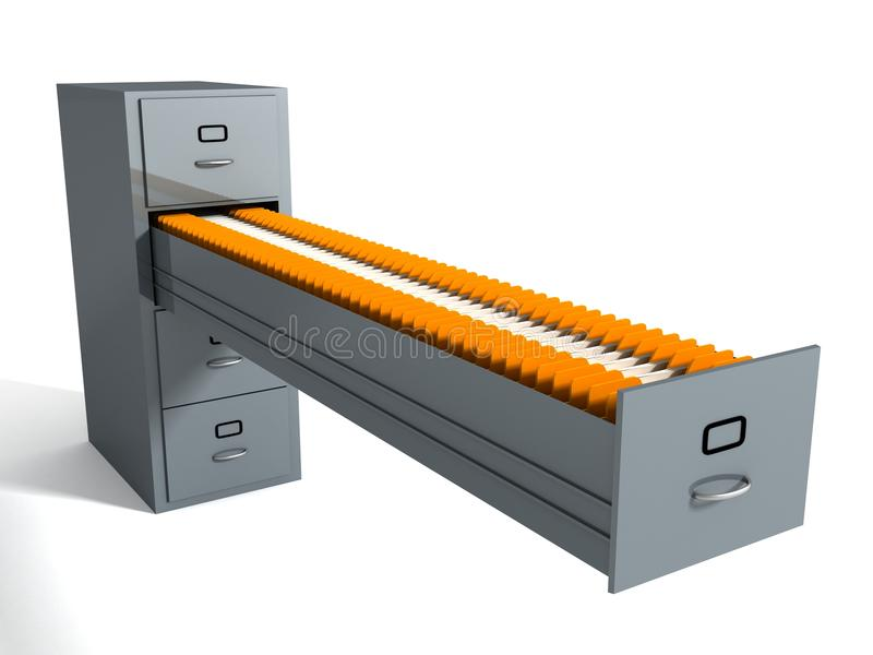 Filing cabinet with many file folders on white stock image