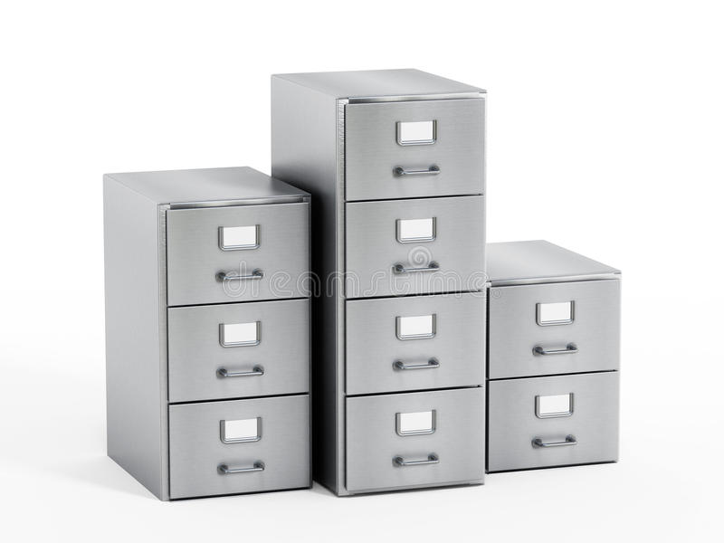 Filing cabinet. With a single yellow folder in an open drawer stock photography