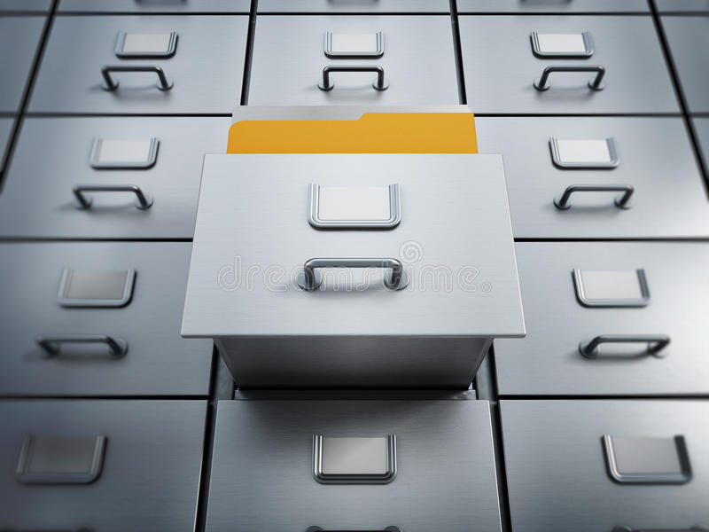 Filing cabinet. With a single yellow folder in an open drawer stock photos