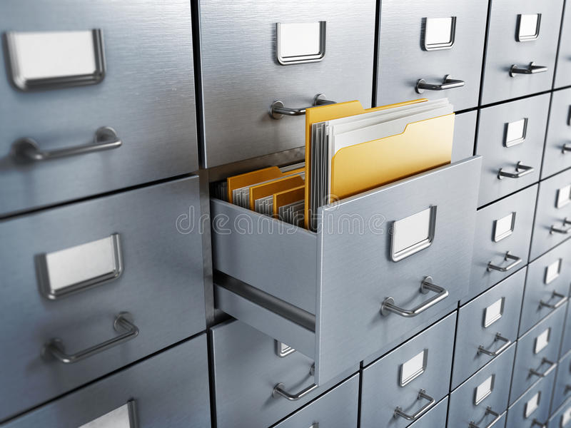 Filing cabinet. With a single yellow folder in an open drawer royalty free stock photos