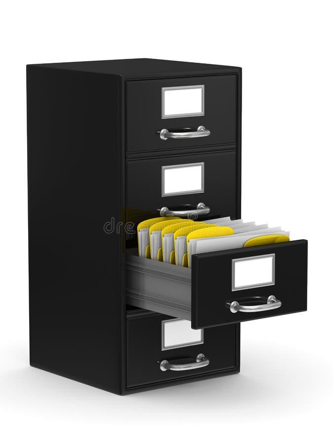 Filing cabinet on white stock illustration