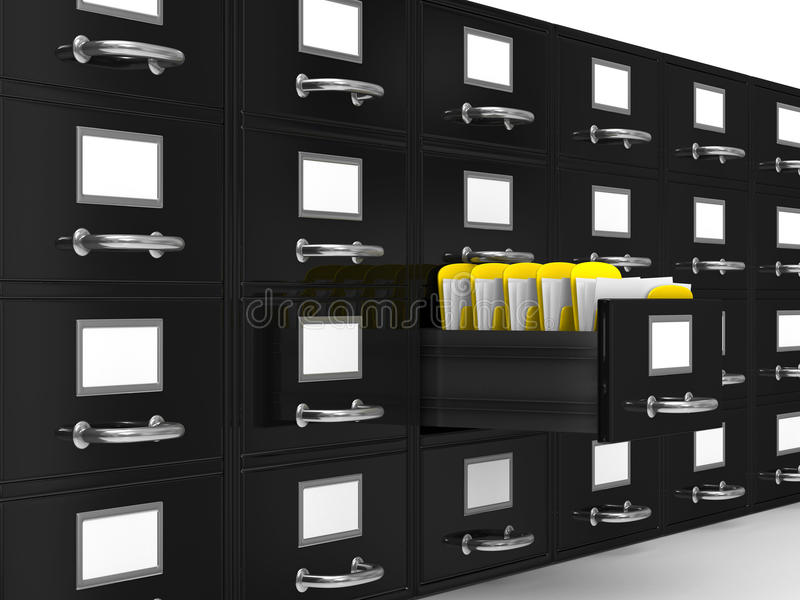 Filing cabinet on white royalty free illustration