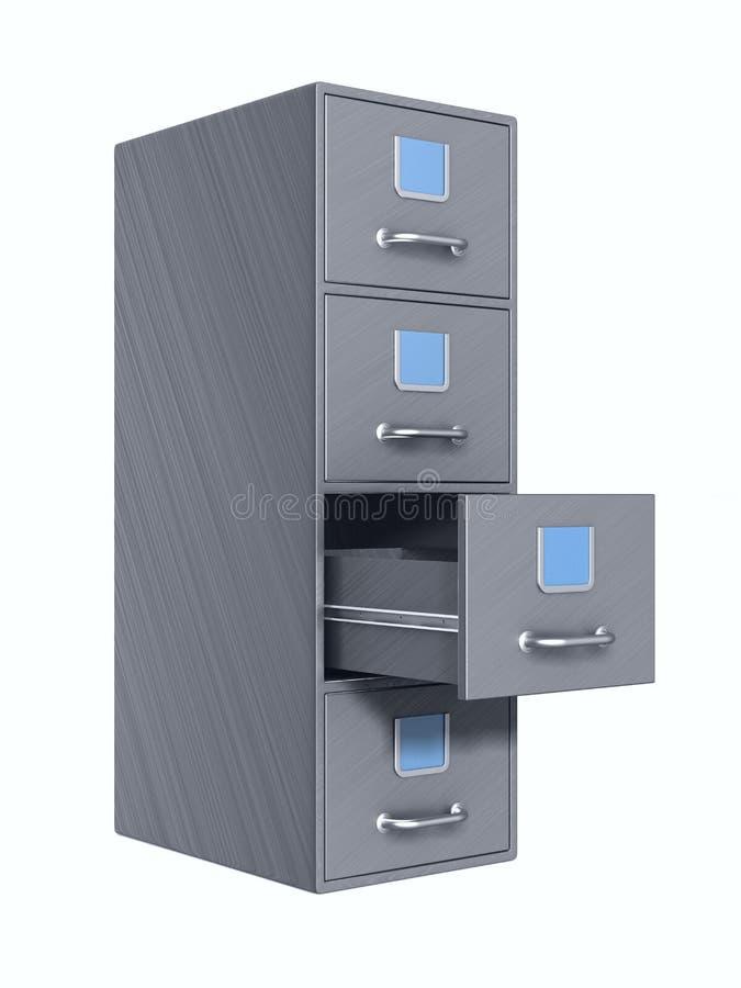 Filing cabinet on white background. Isolated 3D illustration stock illustration