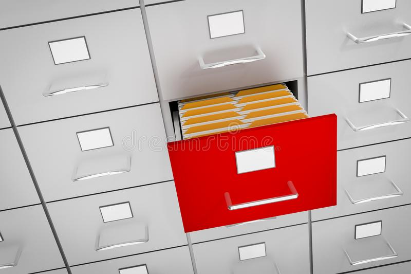 Filing cabinet with yellow folders in an open drawer. Data collection concept. 3D rendered illustration royalty free illustration