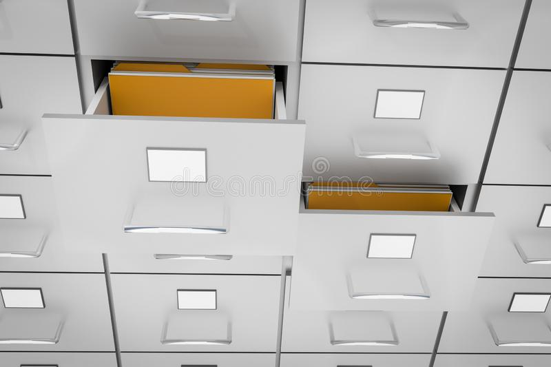 Filing cabinet with yellow folders in an open drawers. Data collection concept. 3D rendered illustration vector illustration