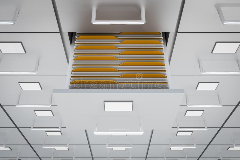 Filing cabinets with open drawer - data collection concept. 3D rendered illustration royalty free illustration