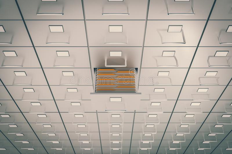 Filing cabinets with open drawer - data collection concept. 3D rendered illustration. Retro style vector illustration