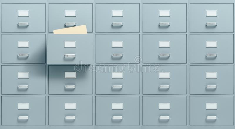 Filing cabinets. Wall mounted filing cabinets, a drawer with files inside is open, administration and business concept stock photos