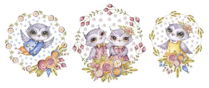 Filins y flores lindos, sistema infantil de la acuarela stock de ilustración