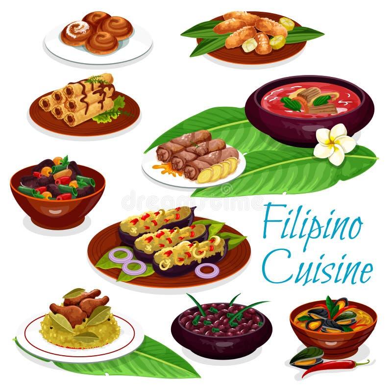 Filipińczyków naczynia z mięsem, owoce morza, owocowy ciasto royalty ilustracja
