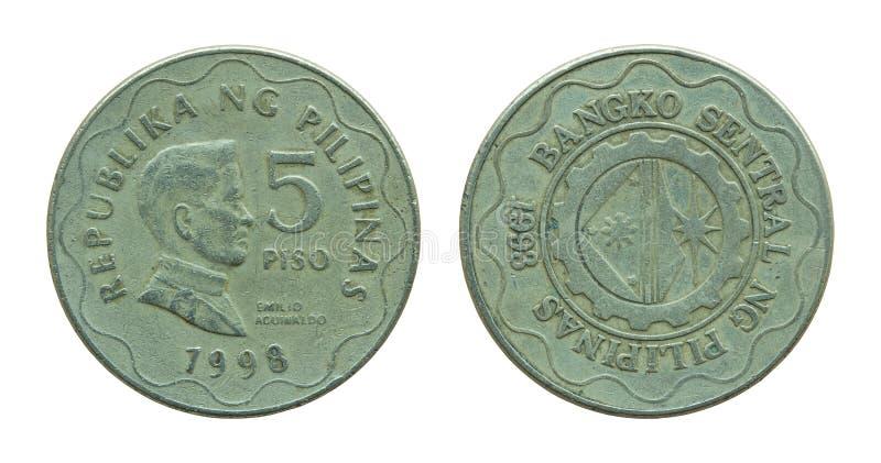Filipińczyk pięć peso monet odizolowywających na bielu zdjęcia stock