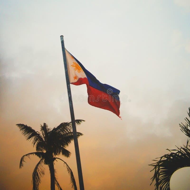 Filipińska flaga państowowa Filipiny zdjęcia royalty free