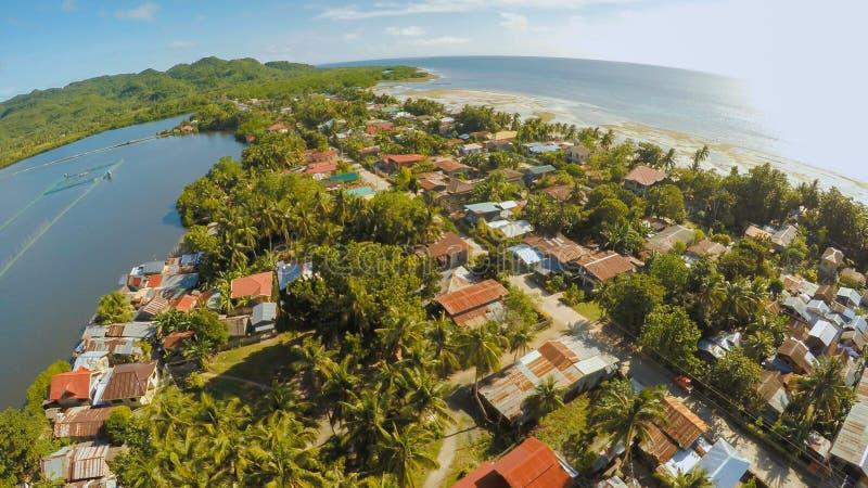 filipińska wioska widok z lotu ptaka Wyspa Bohol Anda miasto zdjęcia royalty free