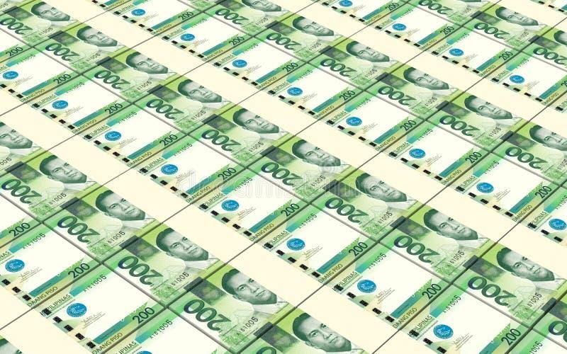 Filipiński peso wystawia rachunek sterty tło ilustracja wektor