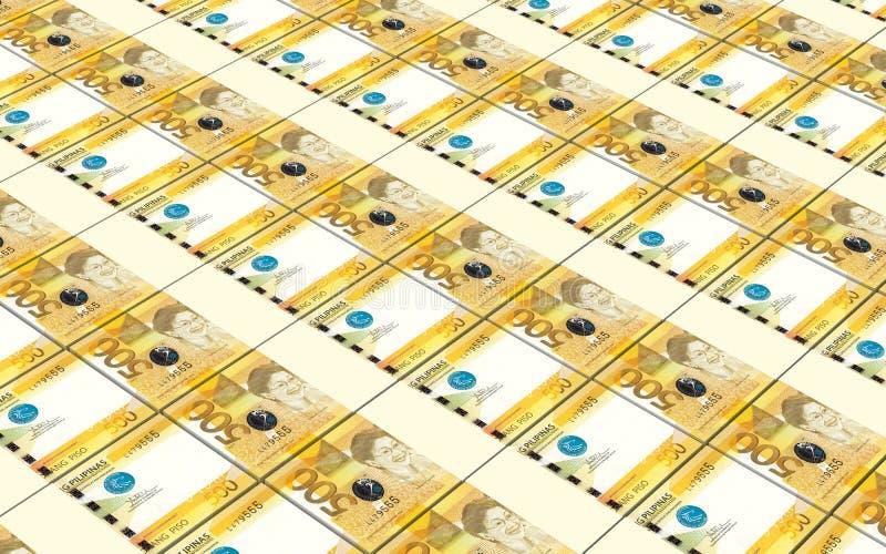 Filipiński peso wystawia rachunek sterty tło ilustracji