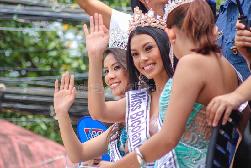 Filipiński piękna queens chybienie Bicolandia widowisko obrazy stock