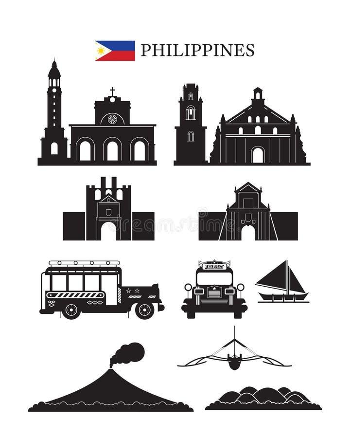 Filipiński punkt zwrotny architektury budynku przedmiota set royalty ilustracja