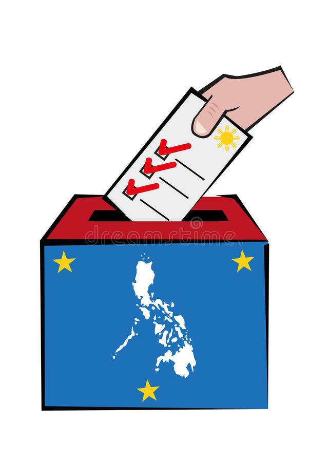 Filipiński wybory pojęcie z mapą i wyborca ręka na tajnego głosowania pudełku Editable klamerki sztuka ilustracji