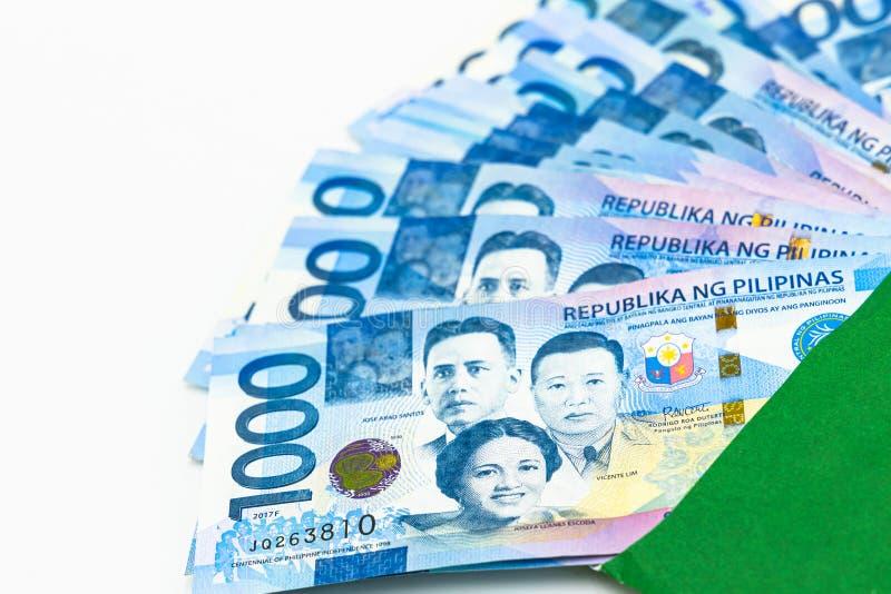 Filipi?czyk 1000 peso rachunek, Filipi?ska pieni?dze waluta, Filipi?ski pieni?dzy rachunk?w t?o obrazy stock