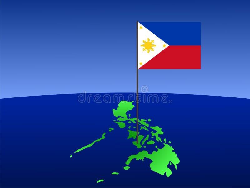 Filipijnse vlag op kaart stock illustratie