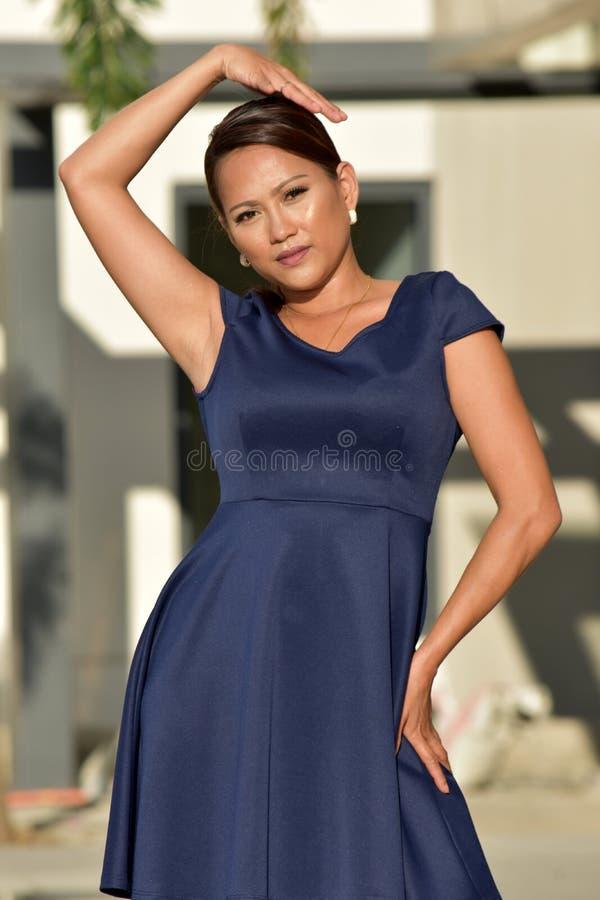 Filipina Adult Female Standing novo sério imagem de stock royalty free