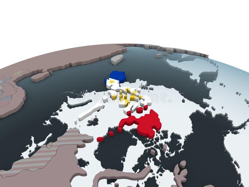Filipinas con la bandera en el globo stock de ilustración