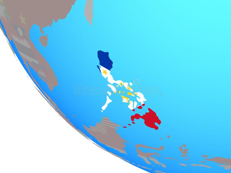 Filipinas con la bandera en el globo ilustración del vector