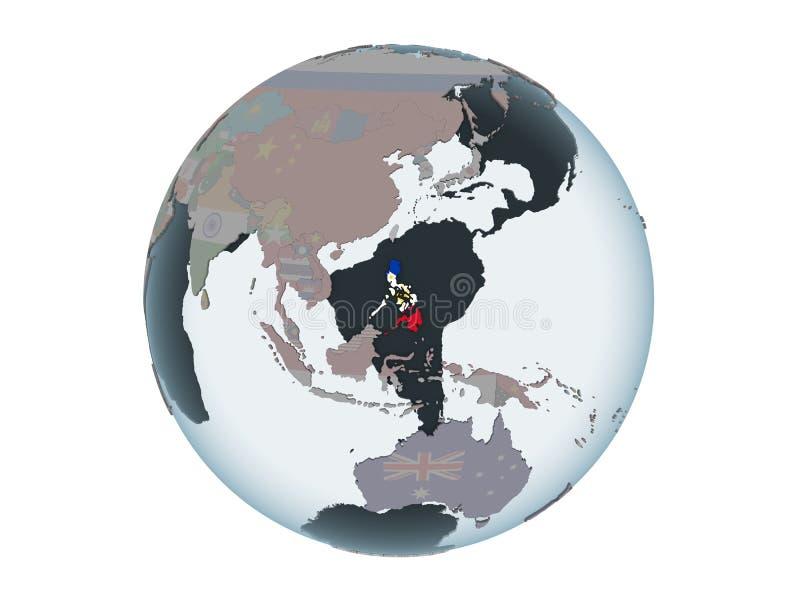 Filipinas con la bandera en el globo aislado stock de ilustración