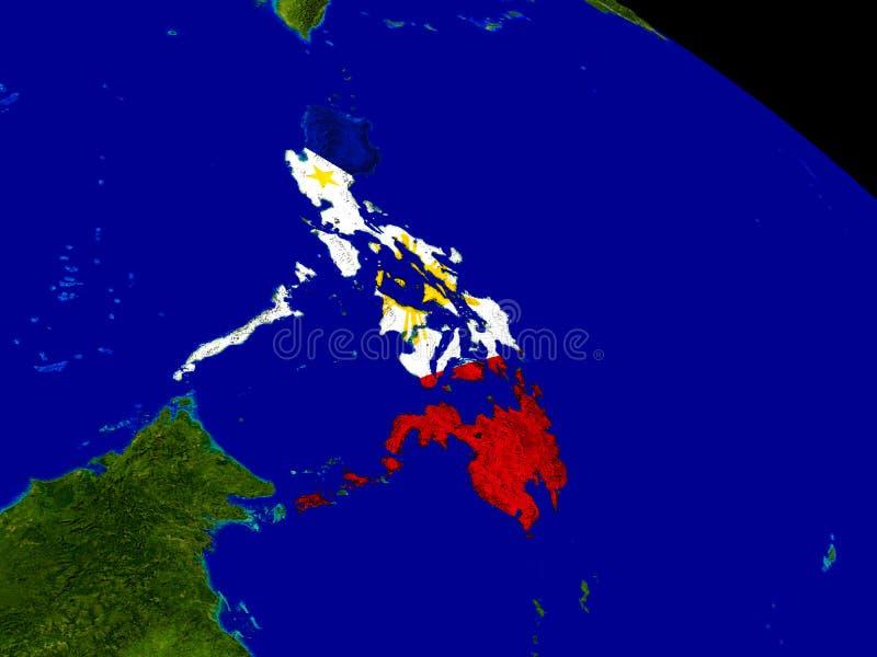 Filipinas con la bandera en la tierra stock de ilustración